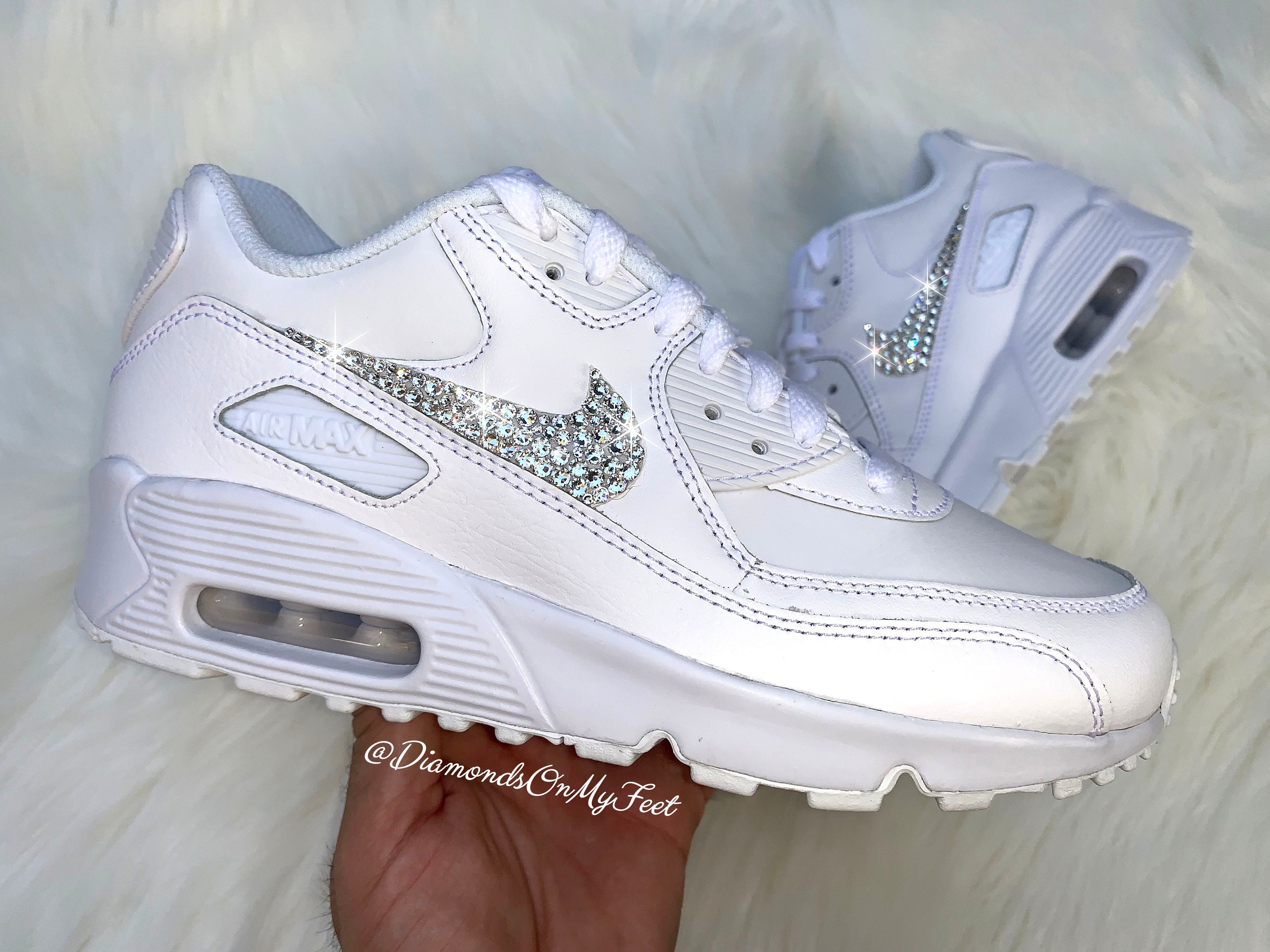 Swarovski Women's Nike Air Max 90 All White Sneakers Blinged Out With Authentic Clear Swarovski Crystals Custom Bling Nike Shoes