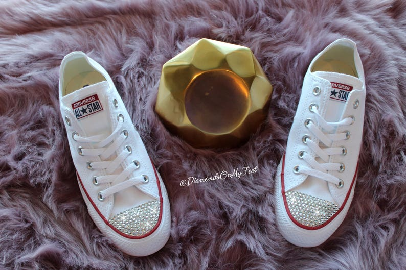 affb70a866af Swarovski Women Converse All Star Chuck Taylor White Low Top