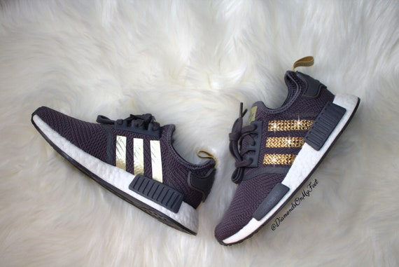 timeless design lowest price best service Swarovski Womens Adidas Originals NMD R1 Runner Gray Sneakers Blinged Out  With Authentic Swarovski Crystals Custom Bling Adidas Shoes