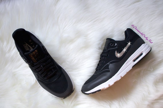 Swarovski Women s Nike Air Max 1 Ultra Moire Black Gray  58cb7bf19