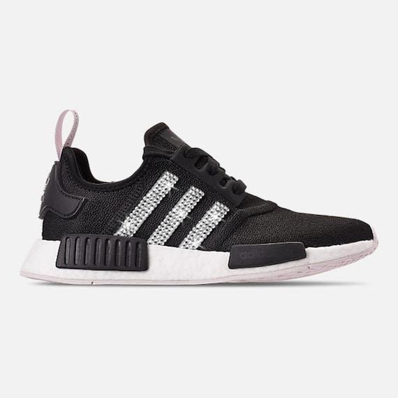 Damen Benutzerdefinierte Adidas mit Originale klaren out Swarovski weiß Blinged NMD R1 Sneakers Kristallen Bling schwarz Swarovski authentischen EH9IDW2