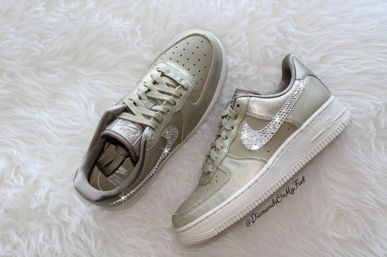 Swarovski Women s Nike Air Force 1 Gold Bronze Low Top  7e2cd5dfb