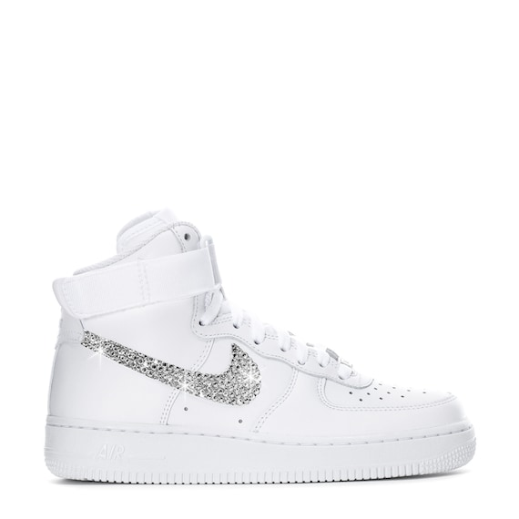 Swarovski Women's Nike Air Force 1 High All White Sneakers Blinged Out With Authentic Clear Swarovski Crystals Custom Bling Nike Shoes