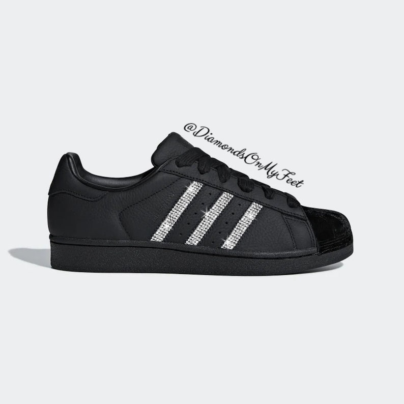 Swarovski Women's Adidas Superstar All Black Velvet Sneakers Blinged Out With Authentic Clear Swarovski Crystals Custom Bling Adidas Shoes