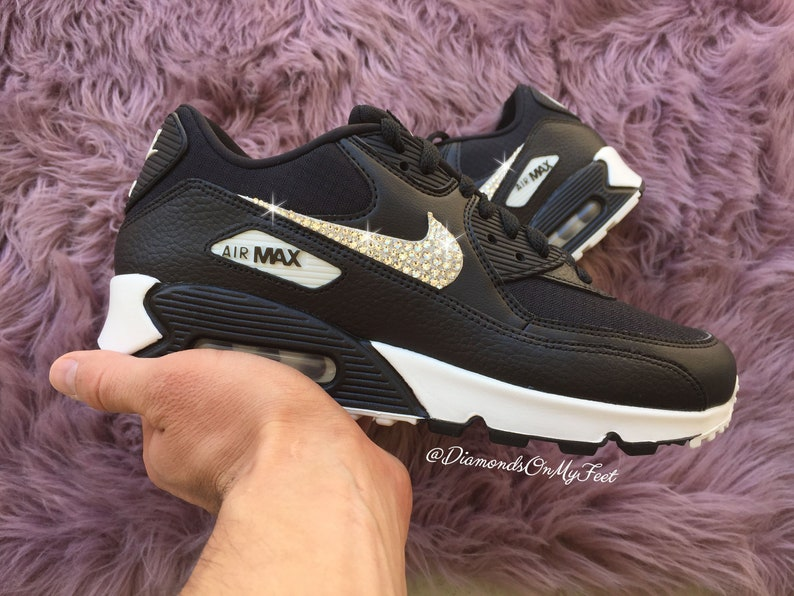 Swarovski Women's Nike Air Max 90 Black & White Sneakers Blinged Out With Authentic Clear Swarovski Crystals Custom Bling Nike Shoes