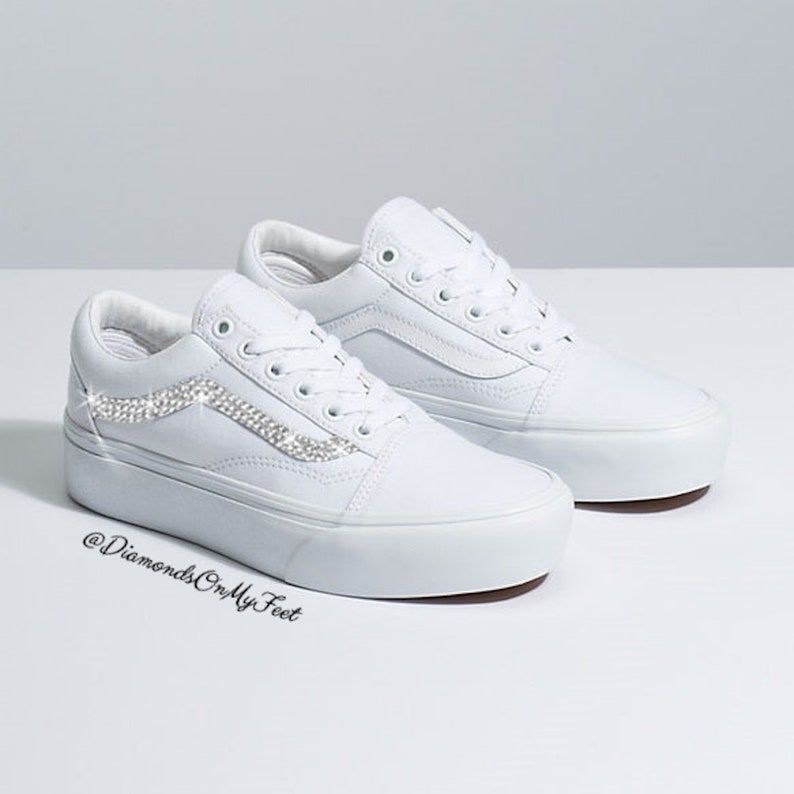 f4ba2c3bc8fab Swarovski Women's Vans Old Skool White Platform Shoes Sneakers Blinged Out  With Authentic Clear Swarovski Crystals Custom Bling Shoes