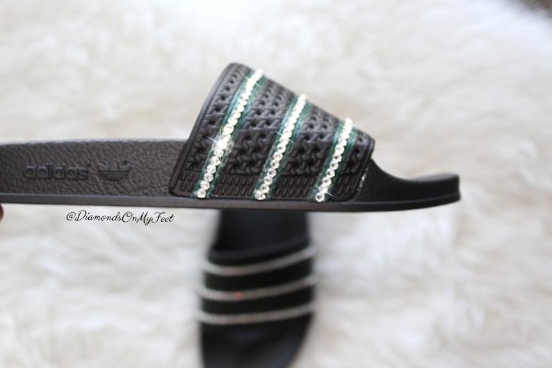 c2558609f580 Swarovski Women s Adidas Adilette Black Slides Blinged Out