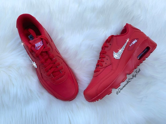 Swarovski Women's Nike Air Max 90 University Red Sneakers Blinged Out With Authentic Clear Swarovski Crystals Custom Bling Nike Shoes