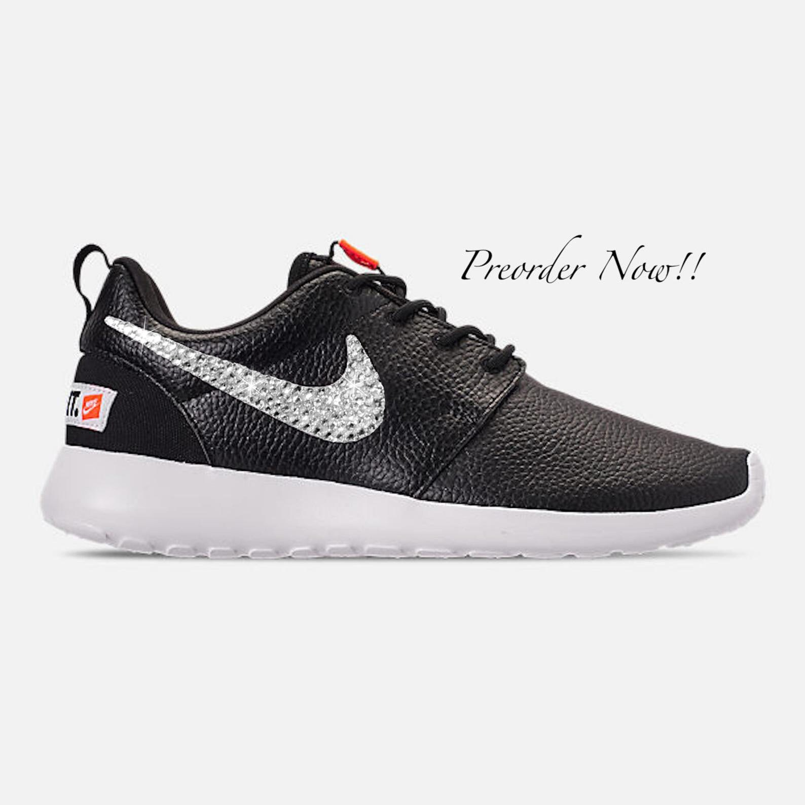 buy online a5a45 2f75b Swarovski Women s Nike Roshe One Premium Black Leather   Etsy