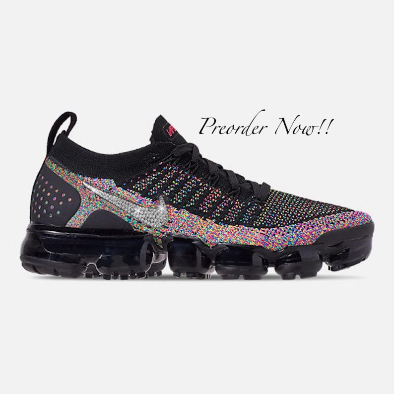 new styles 32ddc 2478e Swarovski Women's Nike Air Vapormax Flyknit 2 Black Sneakers Blinged Out  With Authentic Clear Swarovski Crystals Custom Bling Nike Shoes
