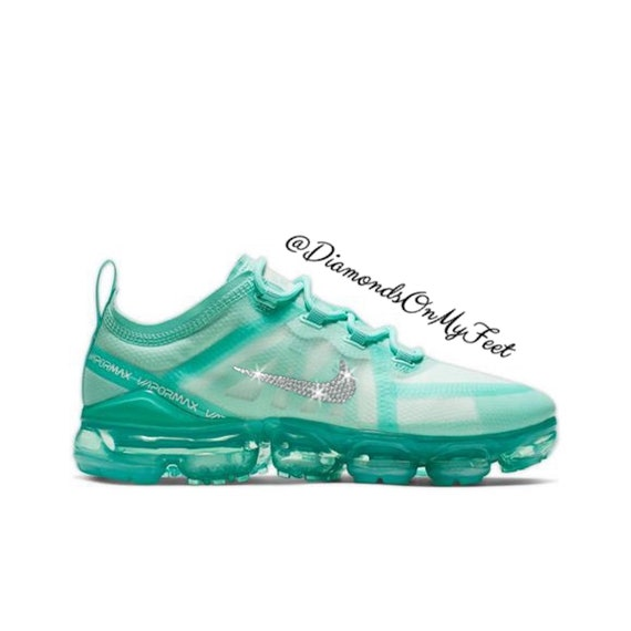 quality design 6d7e7 1edec Swarovski Women's Nike Air Vapormax 2019 Teal Tint Sneakers Blinged Out  With Authentic Clear Swarovski Crystals Custom Bling Nike Shoes