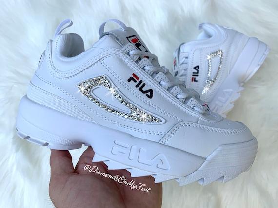 Benutzerdefinierte Swarovski Schuhe Bling Premium Kristallen Fila Out Authentischen Turnschuhe Adidas Mit 2 Disruptor Damen Weiße Blinged WYHIDE29