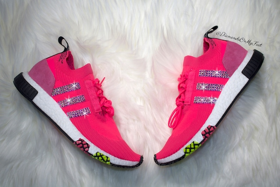 Swarovski Wo  Adidas NMD Racer solaire Primeknit rose baskets baskets baskets Blinged avec des authentiques cristaux Swarovski clairs Bling personnalisé Adidas Chaussures 25b7c9
