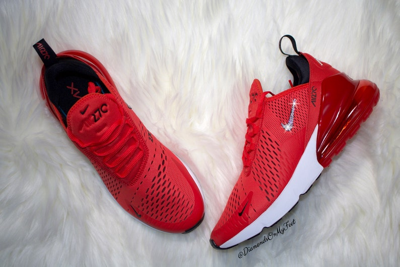 Swarovski Women s Nike Air Max 270 Red Black   White  4d80c246a6a3