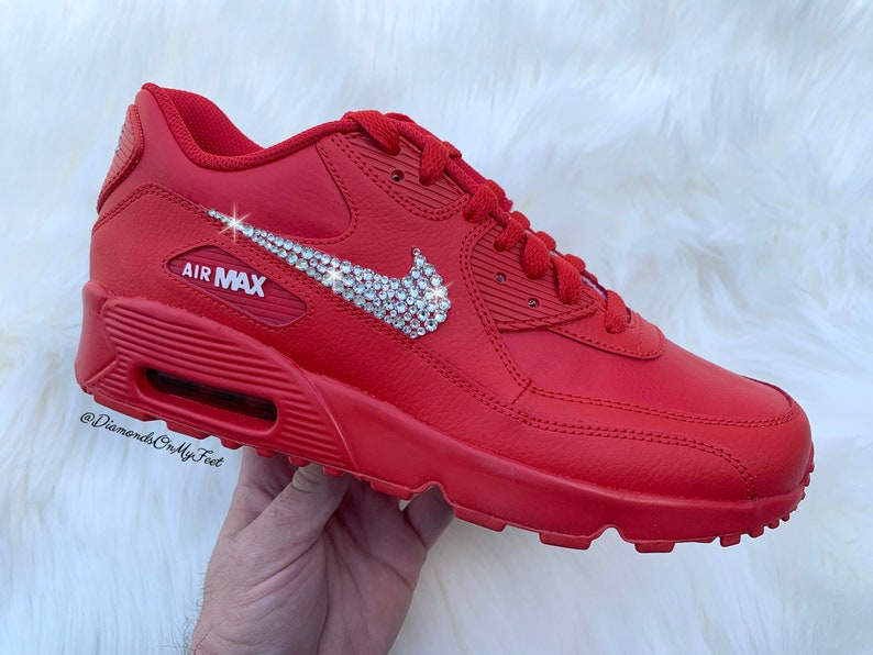 518a4f6d3213 Swarovski Women s Nike Air Max 90 University Red Sneakers