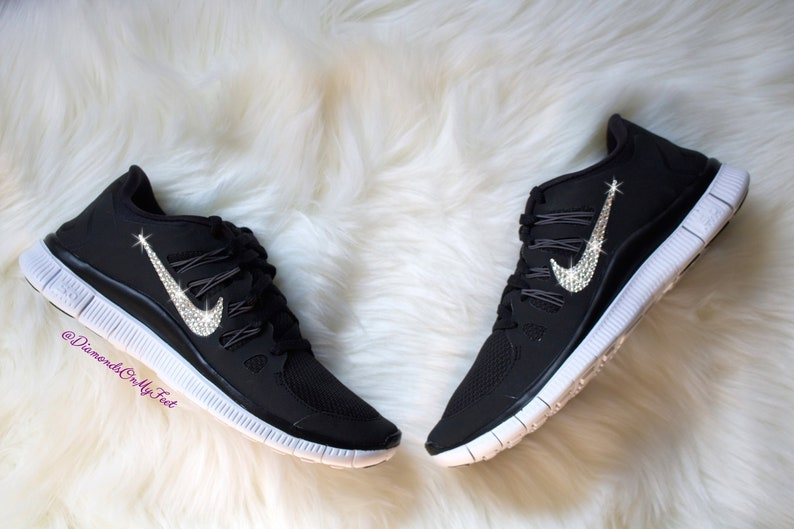 buy online 14c84 1319b Swarovski Women s Nike Free Run 5.0 Black   White   Etsy