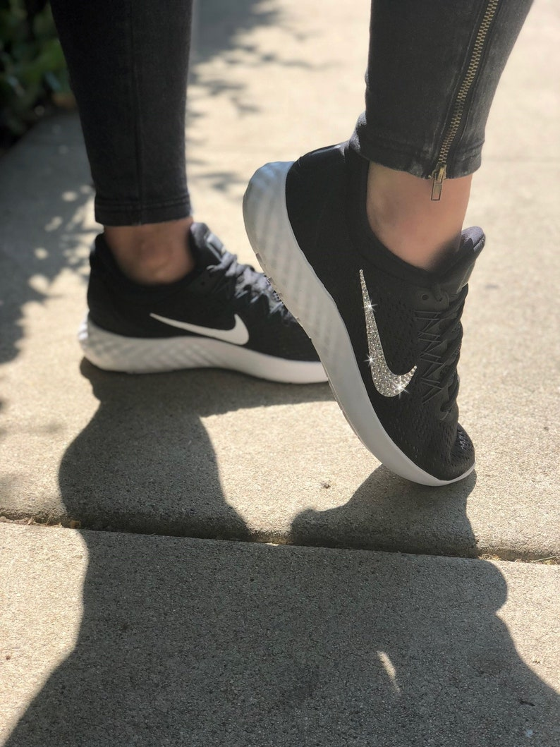 6a1de2dc7d8c Swarovski Women s Nike Lunar Skyelux Black   White Sneakers Blinged Out  With Authentic Clear Swarovski Crystals Custom Bling Nike Shoes