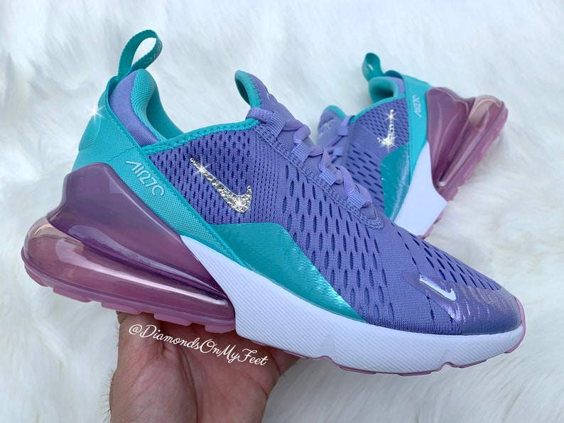 1a1883a542177 Swarovski Women's Nike Air Max 270 Purple Unicorn Sneakers Blinged Out With  Authentic Clear Swarovski Crystals Custom Bling Nike Shoes
