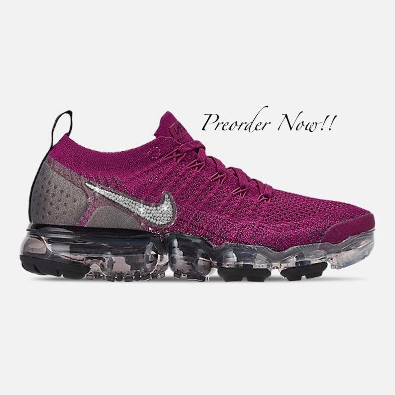 798a4320adae3 Swarovski Women's Nike Air Vapormax Flyknit 2 Burgundy Sneakers Blinged Out  With Authentic Clear Swarovski Crystals Custom Bling Nike Shoes