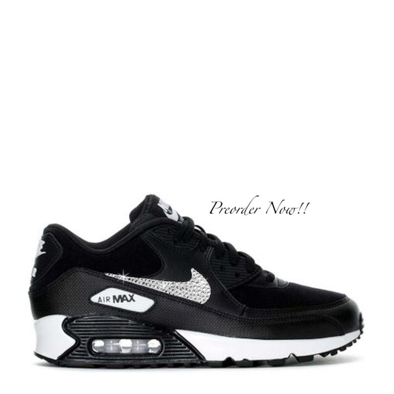 brand new 23265 084b2 Swarovski Women s Nike Air Max 90 Black   White Sneakers   Etsy