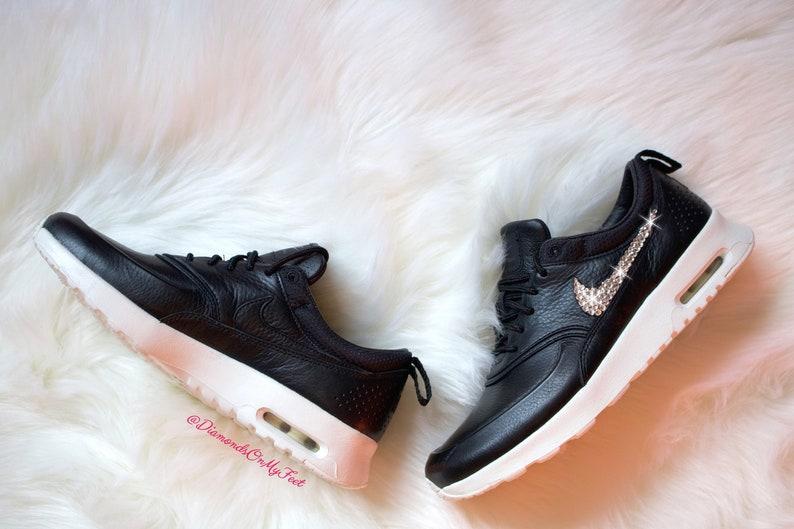 5d790b2a9f Swarovski Womens Nike Air Max Thea Pinnacle Black Leather | Etsy