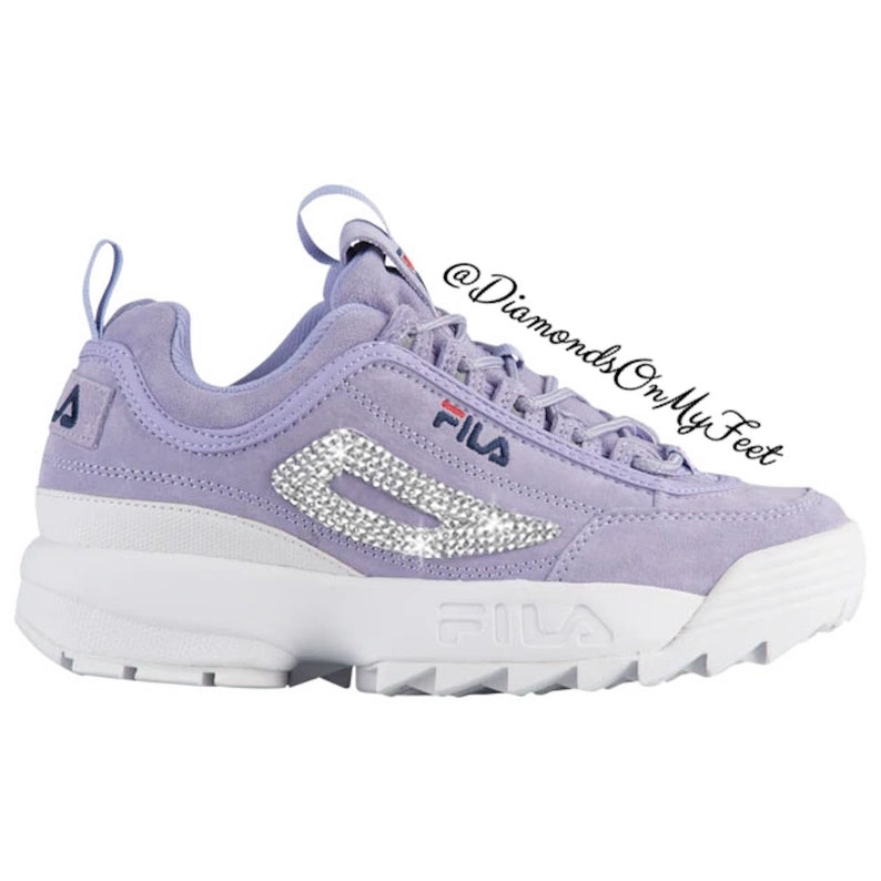 Swarovski Women's Fila Disruptor 2 Premium Purple Suede Shoes Blinged With  Authentic Clear Swarovski Crystals Custom Bling Adidas Shoes
