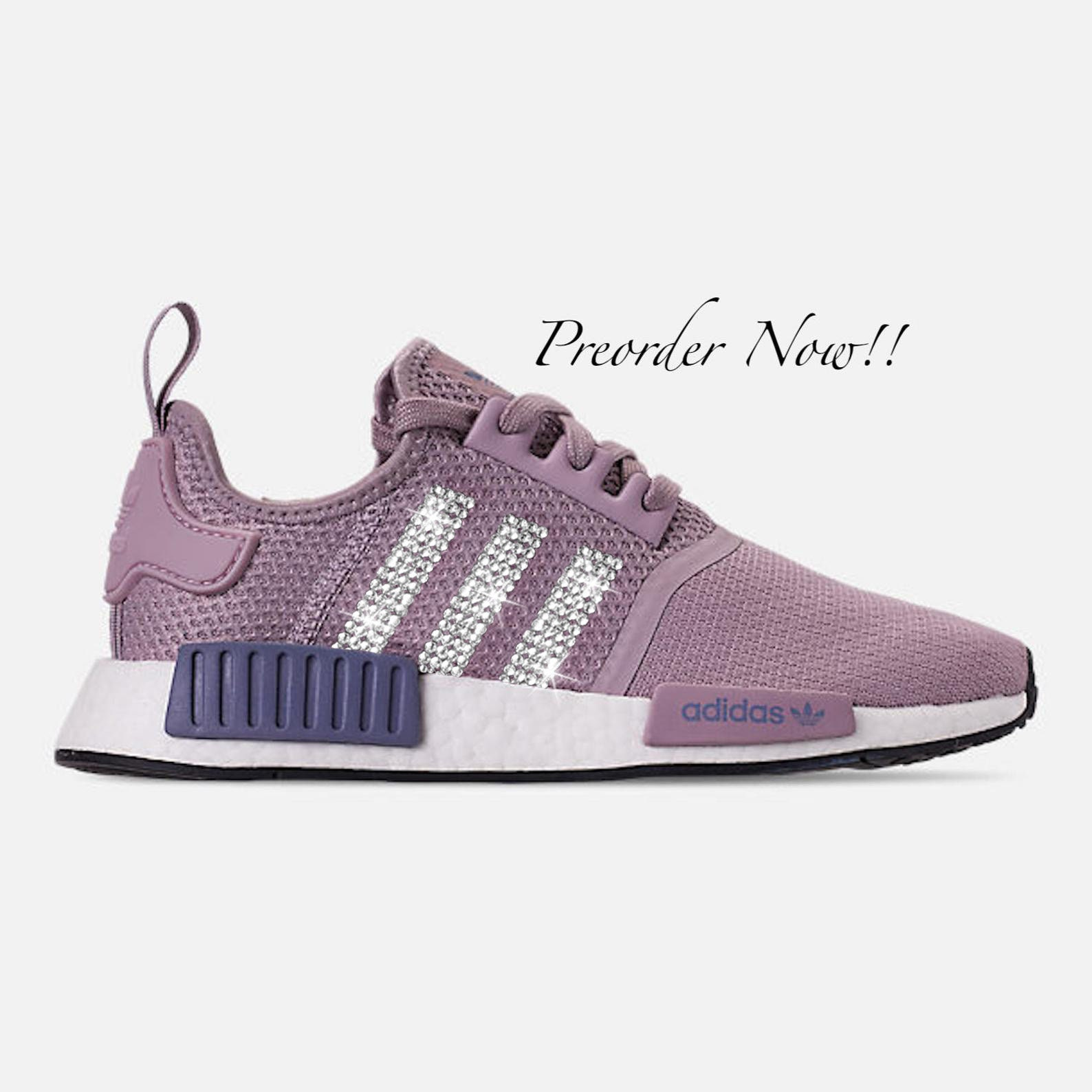 best cheap 2351f a0c69 Swarovski Women's Adidas Originals NMD R1 Purple Sneakers Blinged Out With  Authentic Clear Swarovski Crystals Custom Bling Adidas Shoes