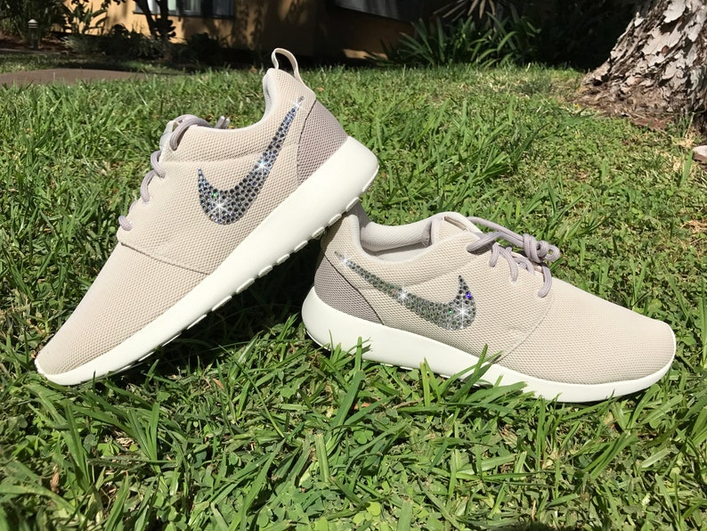 20f5c59eb8eda Swarovski Women s Nike Roshe Run One Tan Khaki Brown