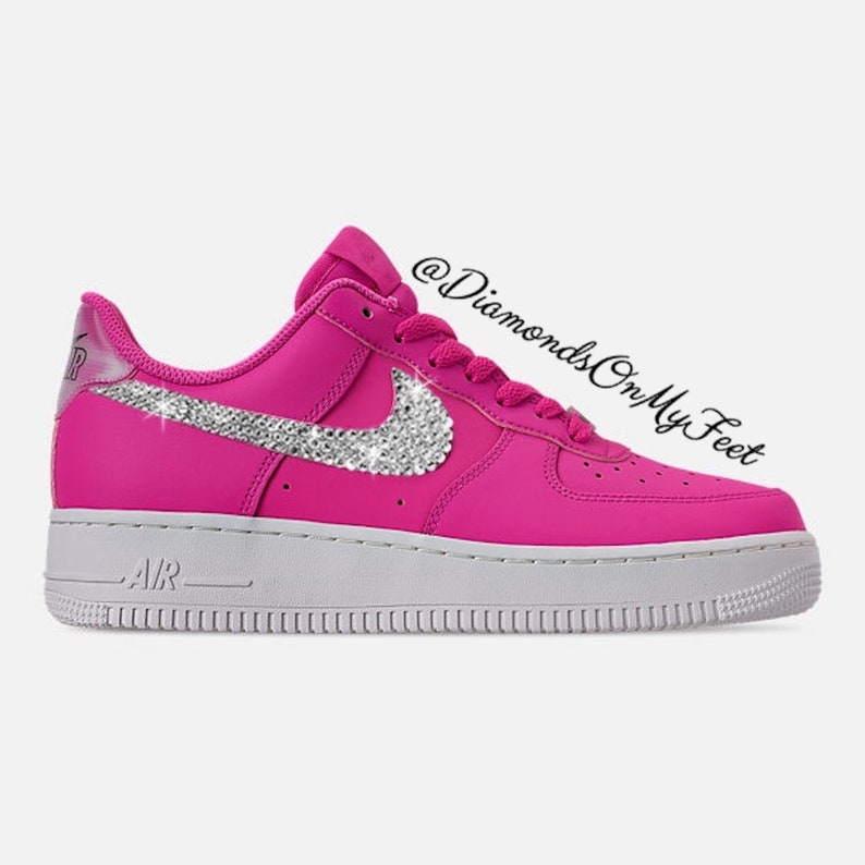 Swarovski Women's Nike Air Force 1 Fuchsia Low Sneakers Blinged Out With Authentic Clear Swarovski Crystals Custom Bling Nike Shoes