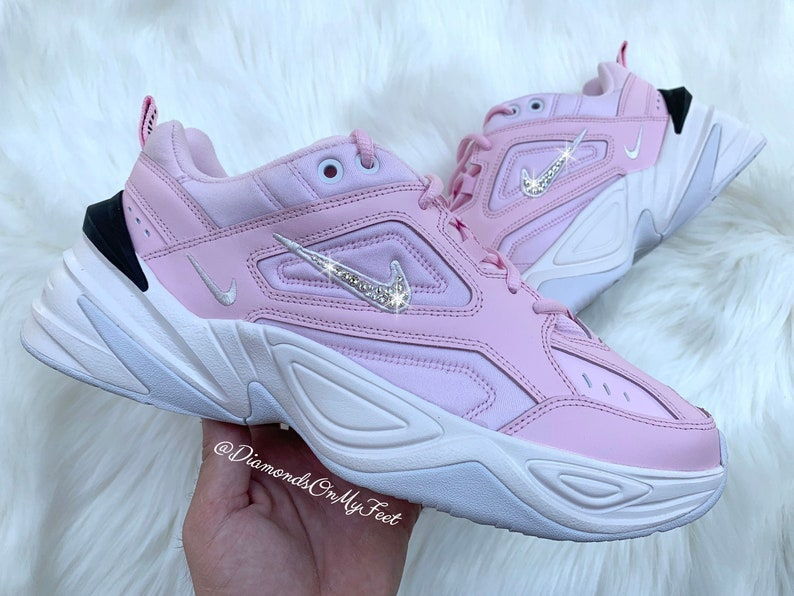 6d9068d229d Swarovski Women's Nike M2K Tekno Pink Foam Shoes Sneakers   Etsy