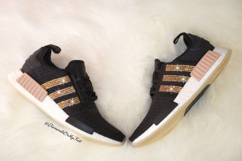 new arrival 1a986 c5586 Swarovski Womens Adidas Originals NMD R1 Core Black Sneakers   Etsy