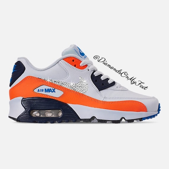 usine authentique 64ce6 8d117 Swarovski Women's Nike Air Max 90 White Orange & Blue Sneakers Blinged Out  With Authentic Clear Swarovski Crystals Custom Bling Nike Shoes