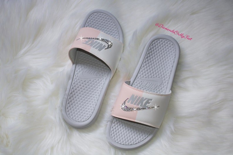 official photos 46795 3830f Swarovski Women s Nike Benassi JDI Swoosh Gray   Pink   Etsy