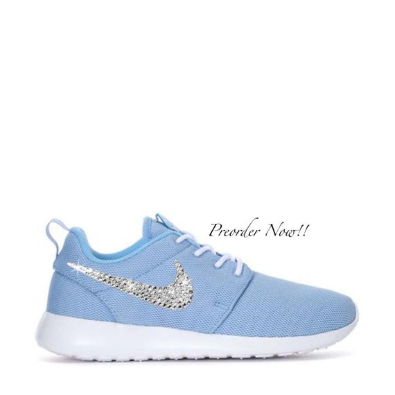 various colors c1a48 f801d Swarovski Women's Nike Roshe One Run Light Blue Sneakers Blinged Out With  Authentic Clear Swarovski Crystals Custom Bling Nike Shoes