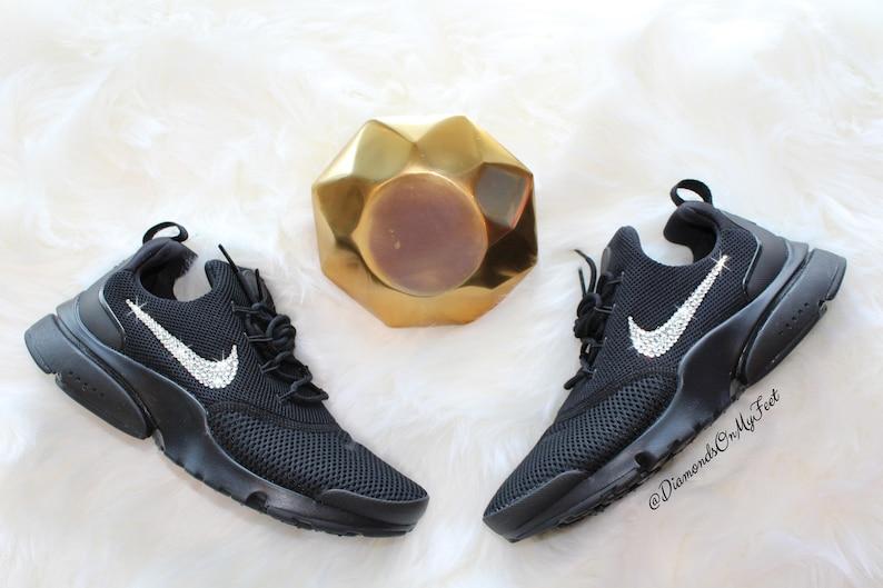 67386b19fe4b Swarovski Women s Nike Presto Fly All Black Sneakers