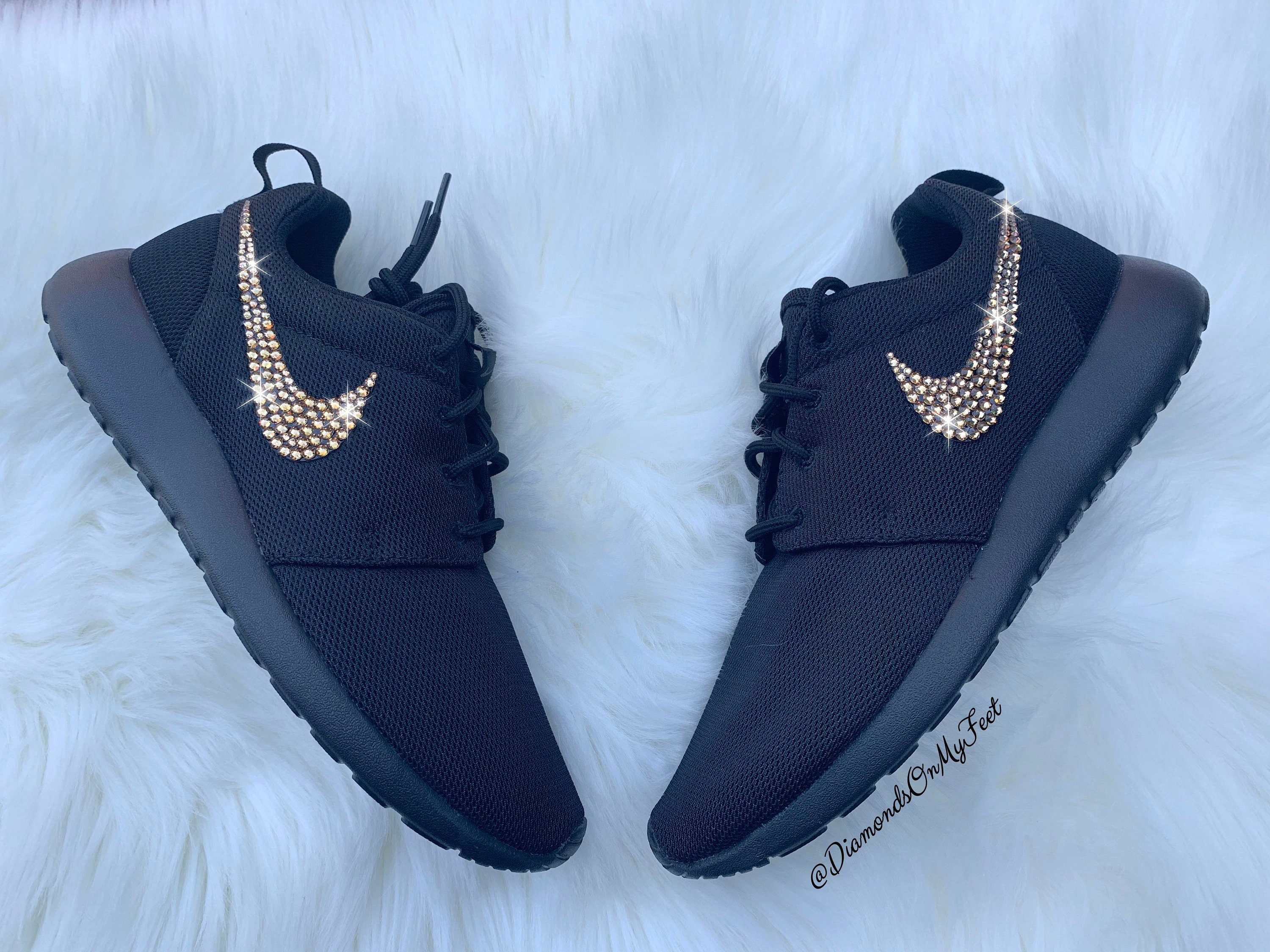 official photos d5f25 15743 Swarovski Women's Nike Roshe Run Roshe One All Black Sneakers Blinged Out  With Authentic Swarovski Crystals Custom Bling Shoes