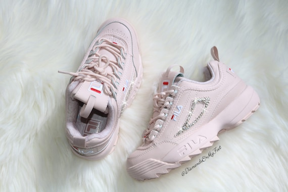 Swarovski Women's Fila Disruptor 2 Premium Pink Sneakers Blinged Out With Authentic Clear Swarovski Crystals Custom Bling Adidas Shoes