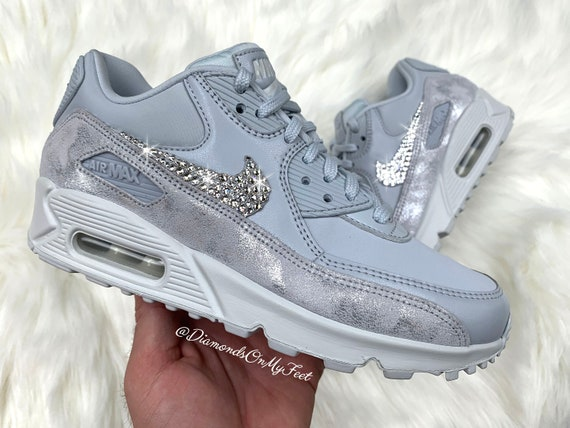 Swarovski Women's Nike Air Max 90 Pure Platinum Sneakers Blinged Out With Authentic Clear Swarovski Crystals Custom Bling Nike Shoes