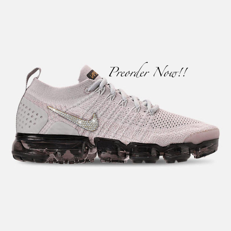 timeless design 2b5e9 29878 Swarovski Women's Nike Air Vapormax Flyknit 2 Grey Sneakers Blinged Out  With Authentic Clear Swarovski Crystals Custom Bling Nike Shoes