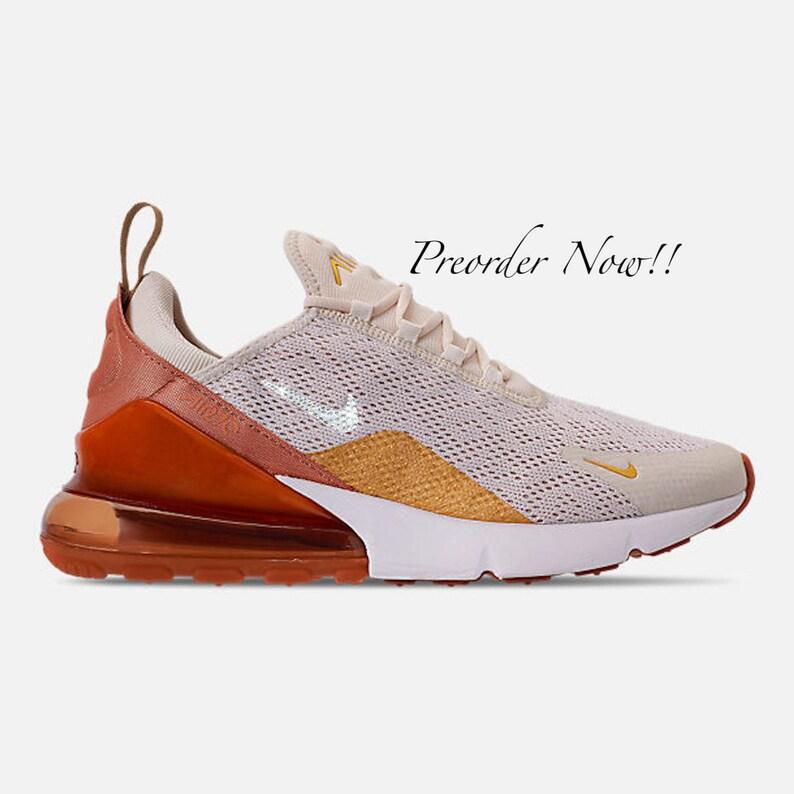 buy popular 97691 0163b Swarovski Women s Nike Air Max 270 Cream   Gold Sneakers   Etsy