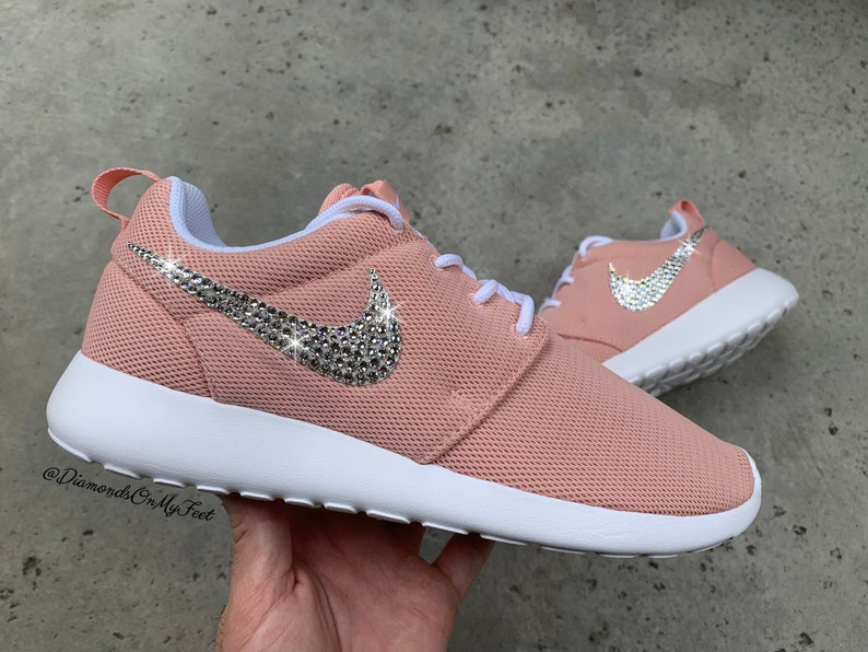 Swarovski Women's Nike Roshe One Run Coral Pink Sneakers | Etsy
