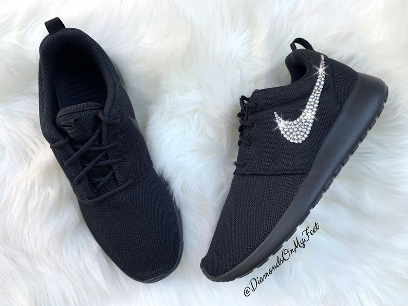 buy popular 69111 65dfd Swarovski Women's Nike Roshe Run Roshe One All Black Sneakers Blinged Out  With Authentic Clear Swarovski Crystals Custom Bling Nike Shoes