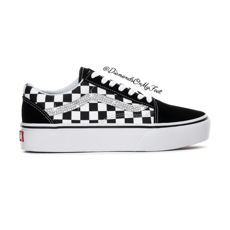 4f130a749b524 Swarovski Women's Vans Old Skool Black & White Checkered Sneakers Blinged  Out With Authentic Clear Swarovski Crystals Custom Bling Shoes