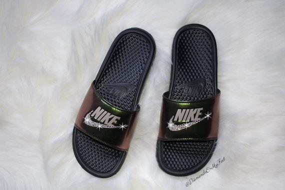 946377abae26 Swarovski Women s Nike Benassi JDI Shiny Metallic Black