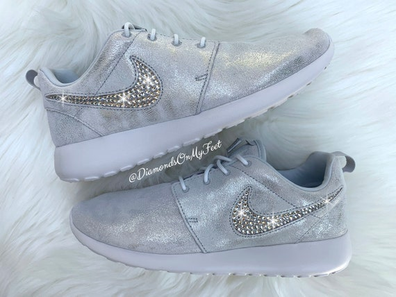 Swarovski Women's Nike Roshe Run Pure Platinum Silver Sneakers Blinged Out With Authentic Clear Swarovski Crystals Custom Bling Nike Shoes