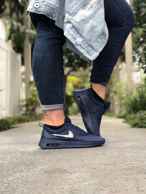 pretty nice e02ab 07d88 Swarovski Women s Nike Air Max Thea Premium Navy Blue   Etsy