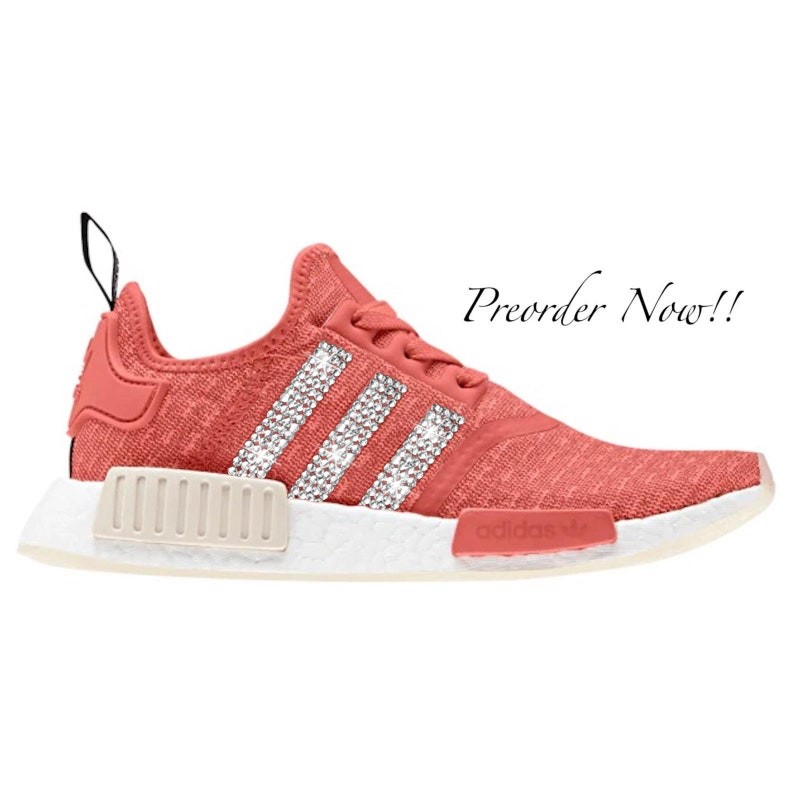 best service 02998 45a34 Swarovski Womens Adidas Originals NMD R1 Runner Red Sneakers Blinged Out  With Authentic Clear Swarovski Crystals Custom Bling Adidas Shoes