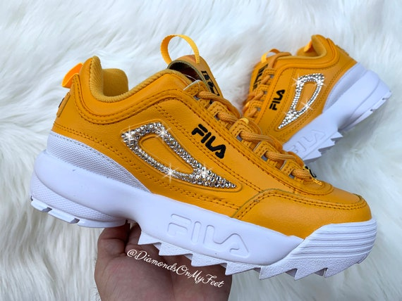 Swarovski Women's Fila Disruptor 2 Premium Yellow Sneakers Blinged Out With Authentic Clear Swarovski Crystals Custom Bling Fila Shoes