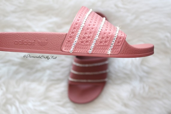 Size 9 - Swarovski Women's Adidas Adilette Dark Pink Slides Blinged Out  With Authentic Clear Swarovski Crystals Custom Bling Nike Sandals