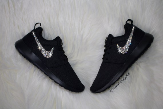 Swarovski Women s Nike Roshe Run Roshe One All Black  4b9c56151f9f